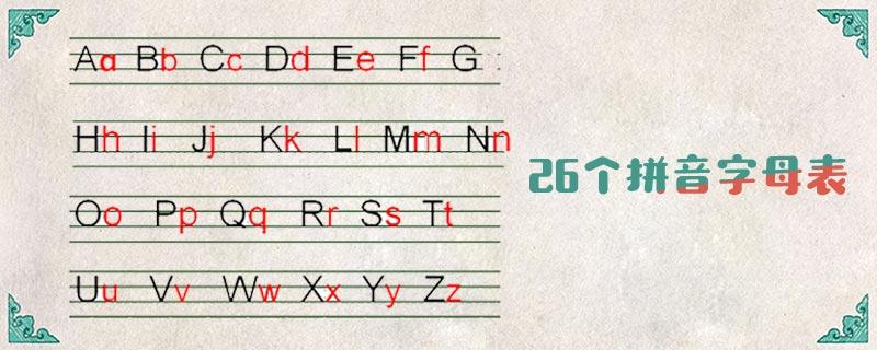 26个拼音字母表